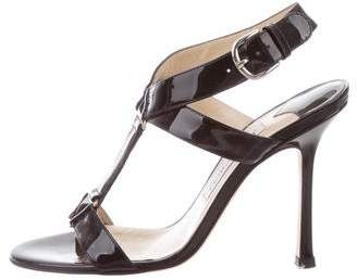 Jimmy Choo Patent Leather Round-Toe Sandals