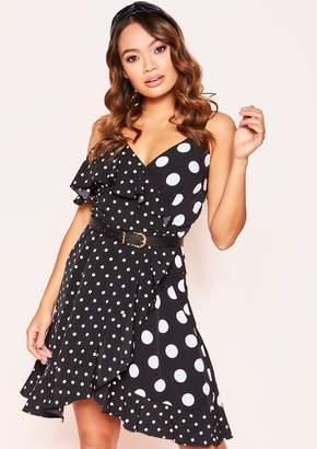 57631cde6300 Missy Empire Jennifer Black Polkadot Frill Wrap Dress