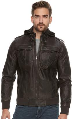 X-Ray Xray Men's XRAY Slim-Fit Faux-Leather Hooded Jacket