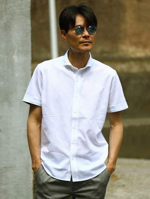 Men's Bigi (メンズ ビギ) - MEN'S BIGI カットソー素材 半袖シャツ/グレンチェック メンズ ビギ シャツ/ブラウス
