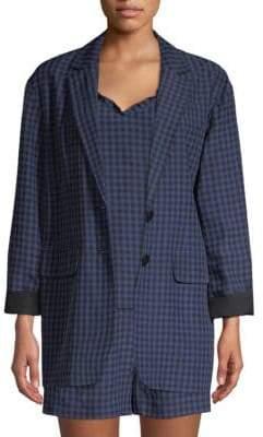 Tibi Women's Gingham Oversized Blazer - Navy - Size XXS
