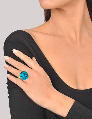 Joanna Laura Constantine Large Monochrome Ring in Gold-Plated Brass with Semi Precious Turquoise