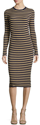 MICHAEL Michael KorsMichael Kors Metallic-Stripe Long-Sleeve Midi Dress, Maritime/Gold