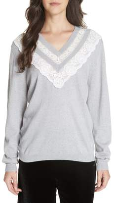 Rebecca Taylor Lace Trim Merino Wool Sweater