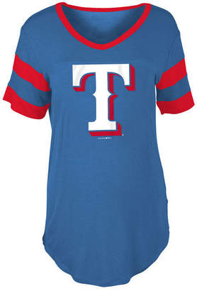 5th & Ocean Women's Texas Rangers Sleeve Stripe Relax T-Shirt