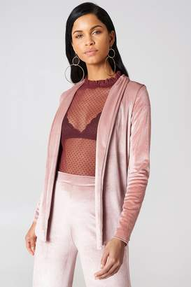 boohoo Velvet Edge To Edge Blazer Rose