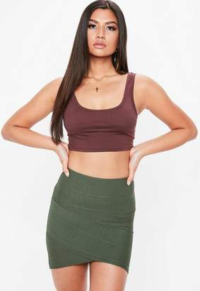 Missguided Khaki Bandage Asymmetric Mini Skirt