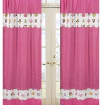 JoJo Designs Sweet 2pc Happy Owl Window Panels - Pink-White