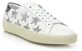 Saint Laurent Court Classic Leather& Metallic Star Sneakers