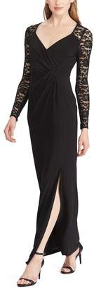 Chaps Women's Lace-Sleeve Jersey Evening Gown