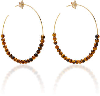 Diane Kordas Diamond Motif Hoop Tiger Eye Bead Earrings
