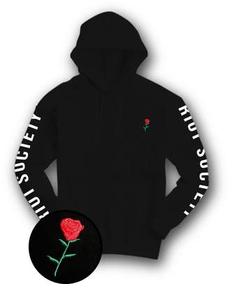 Riot Society Rose Embroidered Mens Hoodie - Pullover Hooded Sweatshirt - XXL