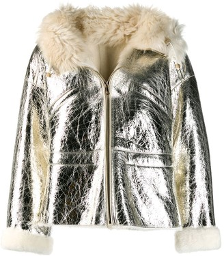 Yves Salomon metallic leather jacket