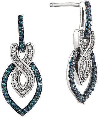 FINE JEWELRY 1/3 CT. T.W. White and Color-Enhanced Blue Diamond Sterling Silver Drop Earrings