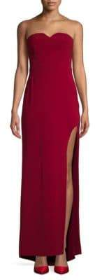Halston Strapless High Slit Dress