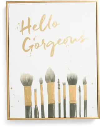 14x18 Hello Gorgeous Makeup Canvas Wall Art