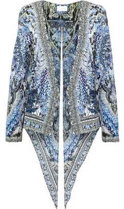 Camilla Split-Back Embellished Printed Twill Jacket