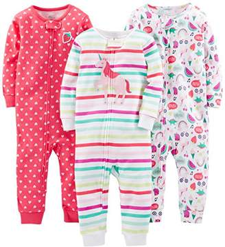 Carter's Simple Joys by Baby Girls' 3-Pack Snug Fit Footless Cotton Pajamas