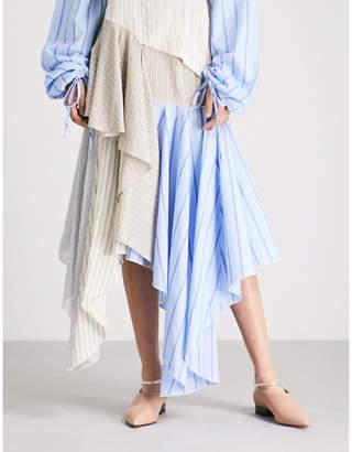 J.W.Anderson Striped handkerchief-hem silk midi skirt