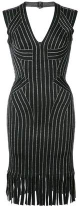 Herve Leger fringed fitted dress