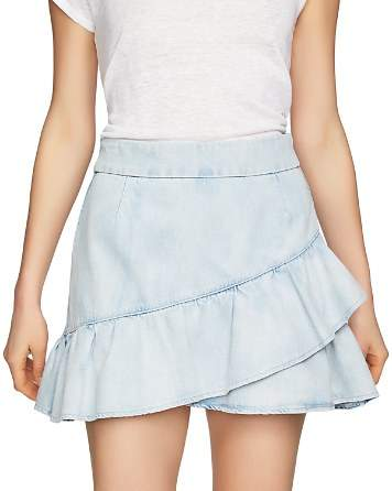 1.STATE Flounced Denim Mini Skirt