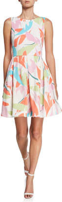 Taylor Printed Fit-and-Flare Sleeveless Dress