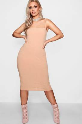 boohoo Plus Esther Square Neck Ribbed Midi Dress