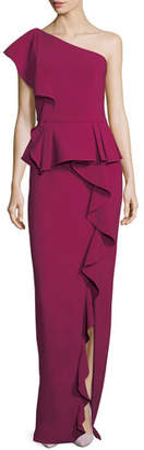 Theia One-Shoulder Ruffled Column Evening Gown