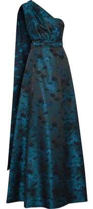 Mikael Aghal One-shoulder Draped Metallic Jacquard Gown