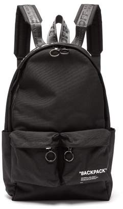 Off-White Off White Quote Print Canvas Backpack - Mens - Black