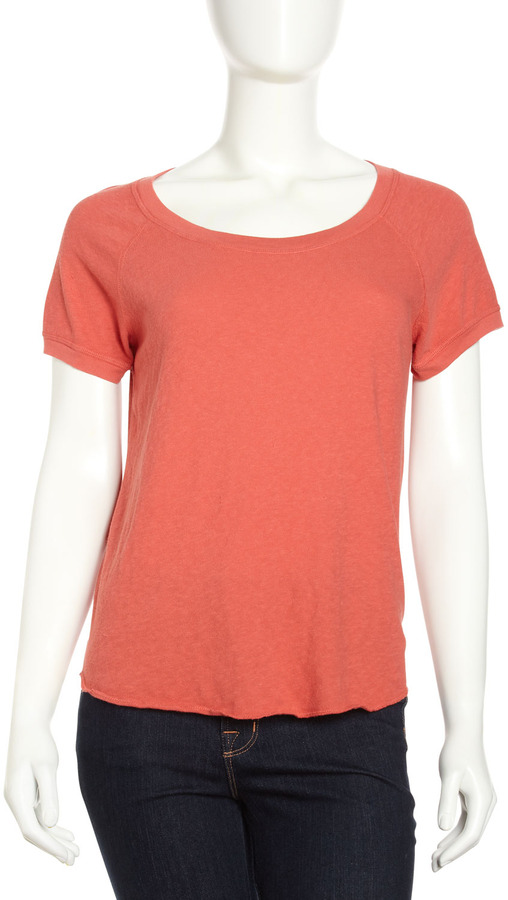 James Perse French Terry Raglan Short-Sleeve Top, Sunfire