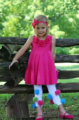 Gurly Bird Hot-Pink-Rosette-Neckline-Swing-Tunic