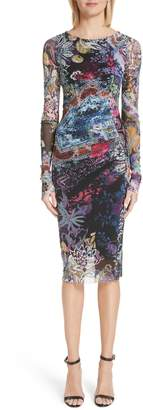 Fuzzi Floral Patchwork Print Long Sleeve Tulle Dress