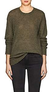 R 13 Women's Distressed Cashmere Sweater - Olive