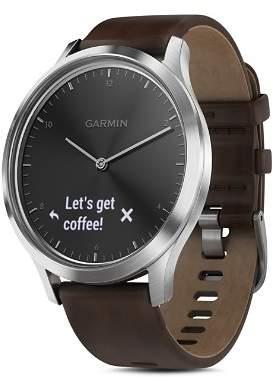 Garmin vívomove® HR Premium Hybrid Brown Leather Strap Smartwatch, 43mm