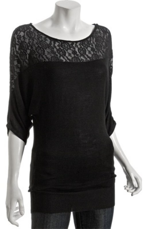linQ black bamboo blend lace inset dolman top