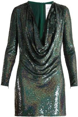 Ashish Sequin-embellished draped-front silk mini dress
