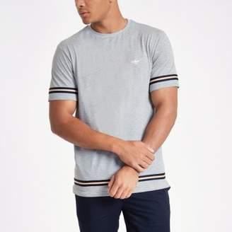 River Island Grey marl slim fit tape T-shirt