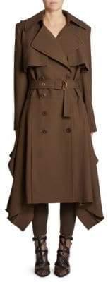 Chloé Wool Gabardine Hankerchief Hem Trench Coat
