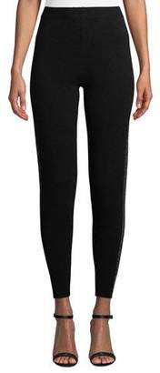 ATM Anthony Thomas Melillo Sparkle Side-Stripe Cashmere-Blend Sweater Pants