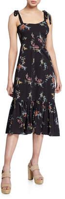 Paige Tolucah Floral Shoulder-Tie Midi Dress