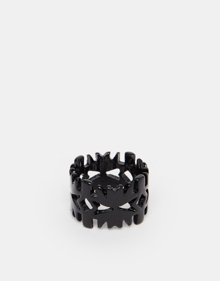 ASOS BRAND ASOS Ring With Cut Out Design In Black