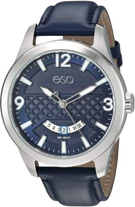 ESQ by Movado ESQ Men's 'Dress' Quartz Stainless Steel and Leather Casual Watch, Color Blue (Model: 37ESQE08301A)