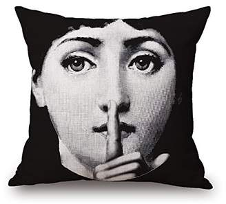 Fornasetti Elliot_yew Funny Piero Decoration Pattern Cotton Linen Square Throw Pillowcase Cushion Cover Shell with Invisible Zipper Closure,18x18 inches