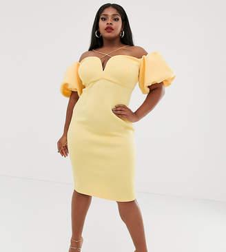 Asos DESIGN Curve bardot bubble sleeve strappy midi dress