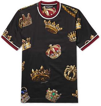 3f1eef65 Dolce & Gabbana Slim-Fit Stripe-Trimmed Printed Cotton-Jersey T-Shirt