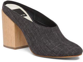 Wooden Block Heel Mules