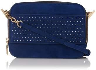 LK Bennett Mia Ink Blue Suede Shoulder Bag