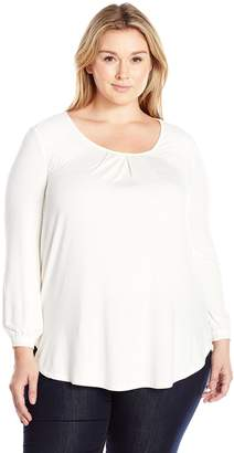 Melissa McCarthy Women's Plus Size Long Sleeve Top with Lace Detail