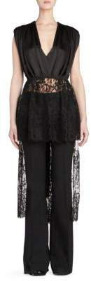 Alexander McQueen Gather Sat Lace Detail High-Low Top